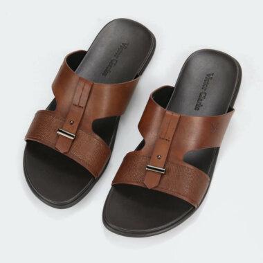 حذاء بنى جلد طبيعى مقوى من ماركة فيكتور كلارك للاحذية الاصلية