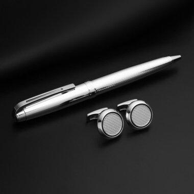 طقم قلم و كبك باللون الفضي