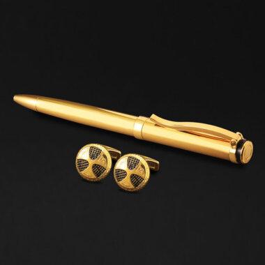طقم قلم و كبك باللون الذهبي الرائع